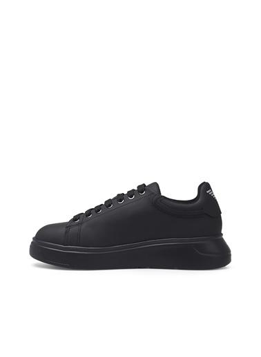 Emporio Armani X3X024 Deri Ve Eko Deri Kauçuk Logo Baskılı Bağcıklıyhah Kadın Ayakkabı Siyah